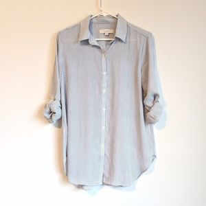 Loft white and blue stripe button up shirt small